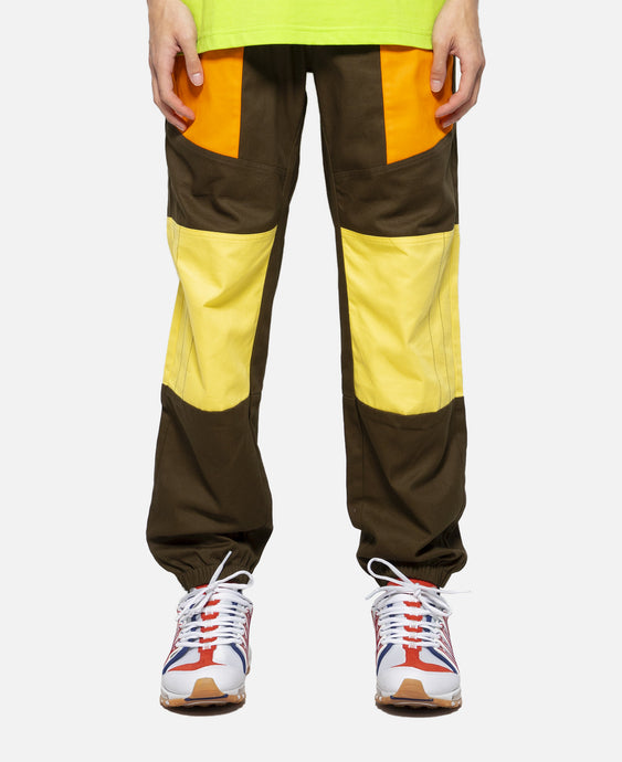 Contrast Patched Panel Pants (Olive)