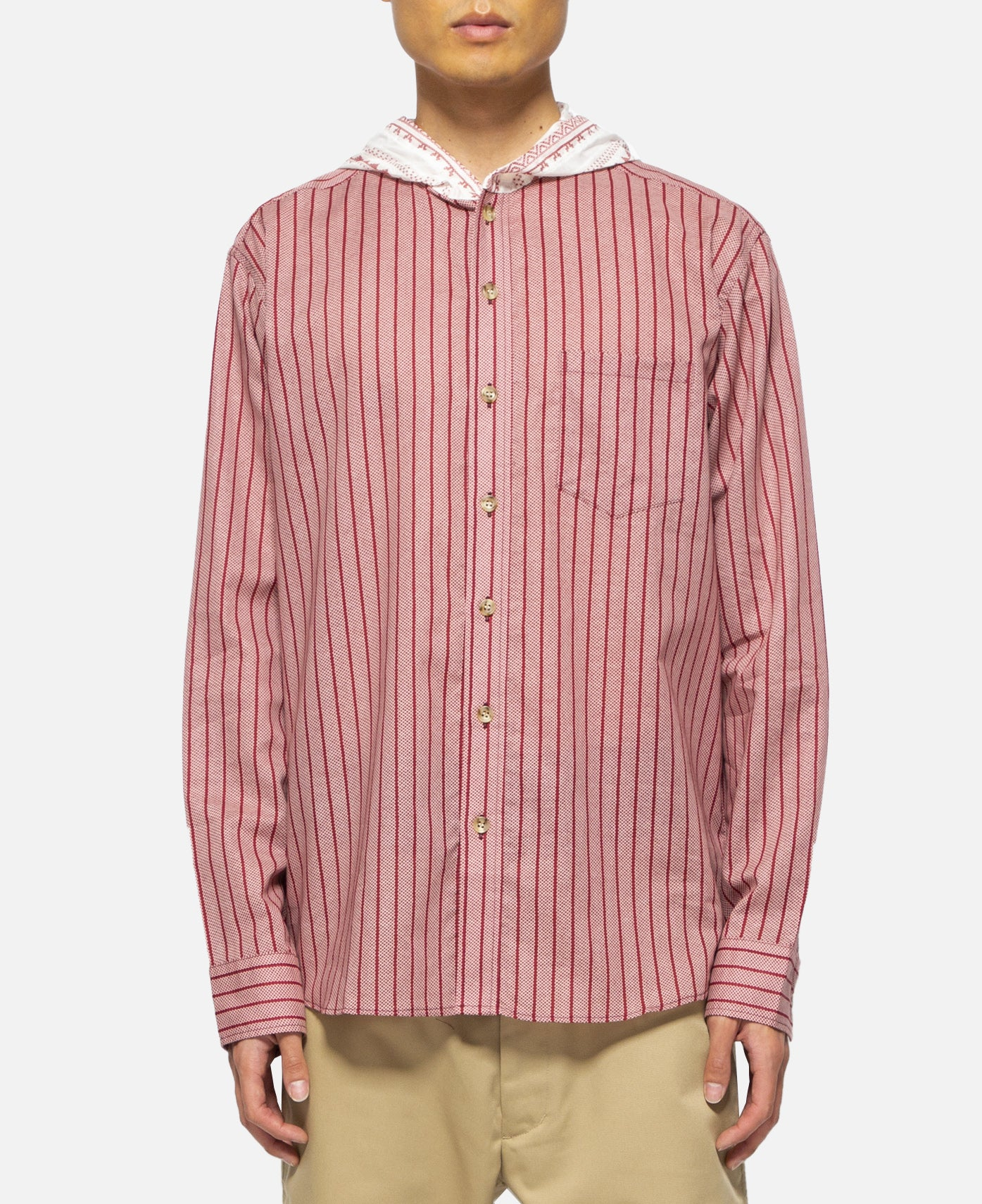 Contrast Tone Hooded L/S Shirt (Pink)