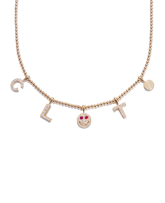 """CLOT"" Diamond Smiley Gold Beads Necklace (1 of 10 Pre-order)"
