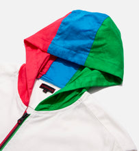 Tri-Color Hood Zip Up L/S Shirt (White)