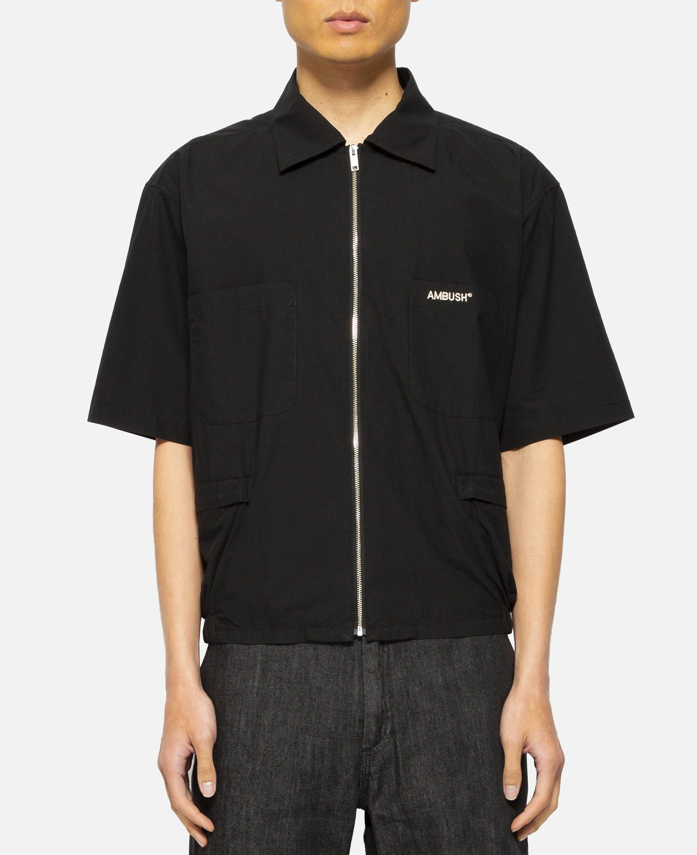 Zipper Multi Pocket Shirt (Black)
