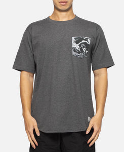 Mountain Wave Printed Pocket T-Shirt (Charcoal)