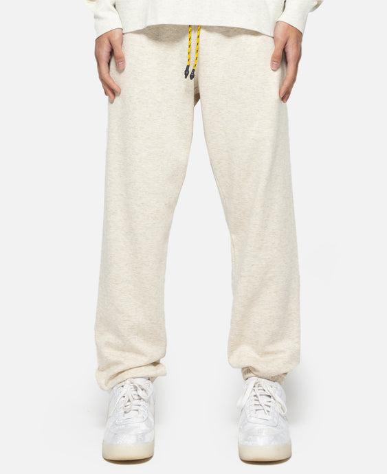 Metallic Weave Drawstring Sweat Pants (Beige)