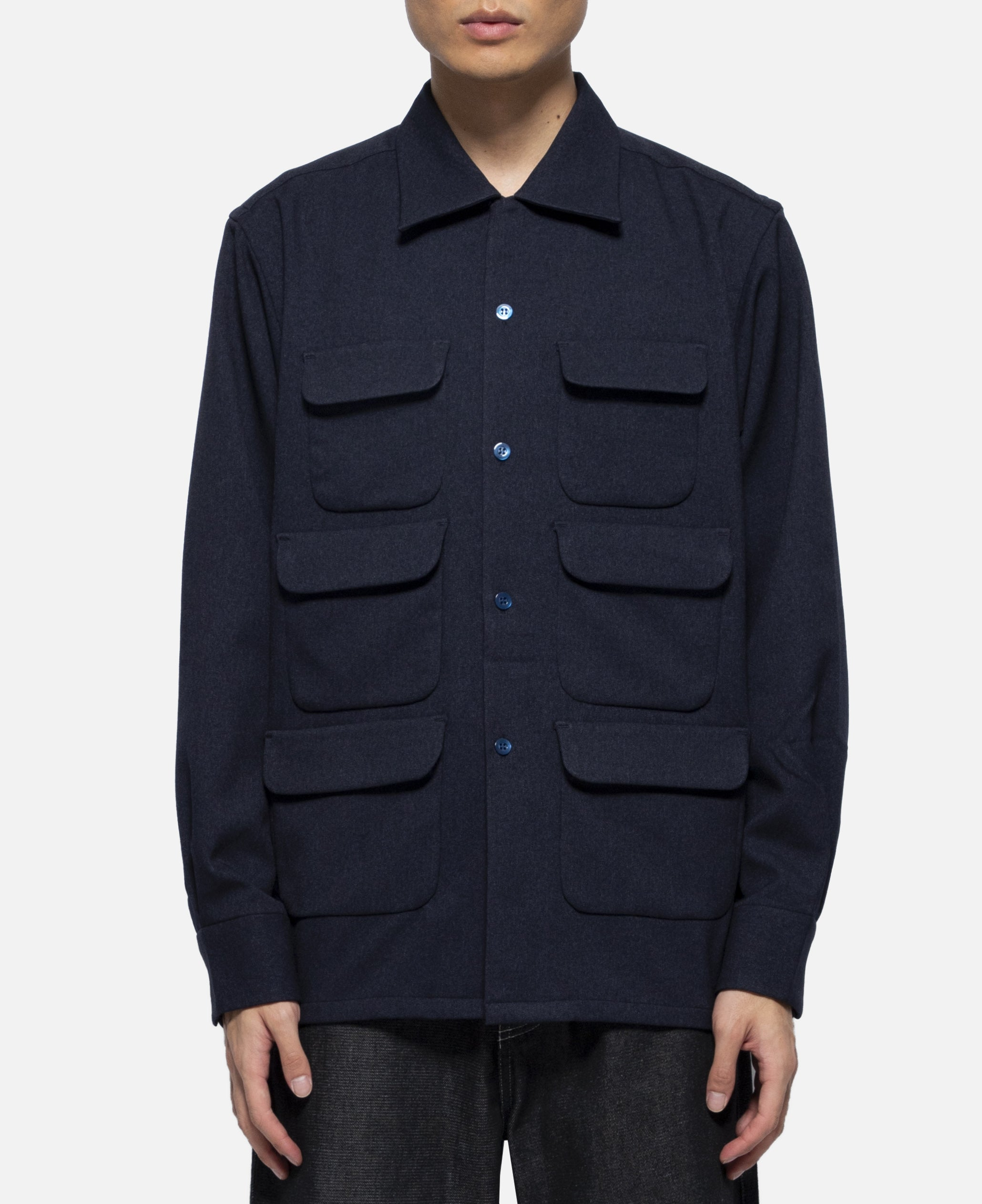 Poly Tweed 6 Pocket Classic Shirt (Navy)