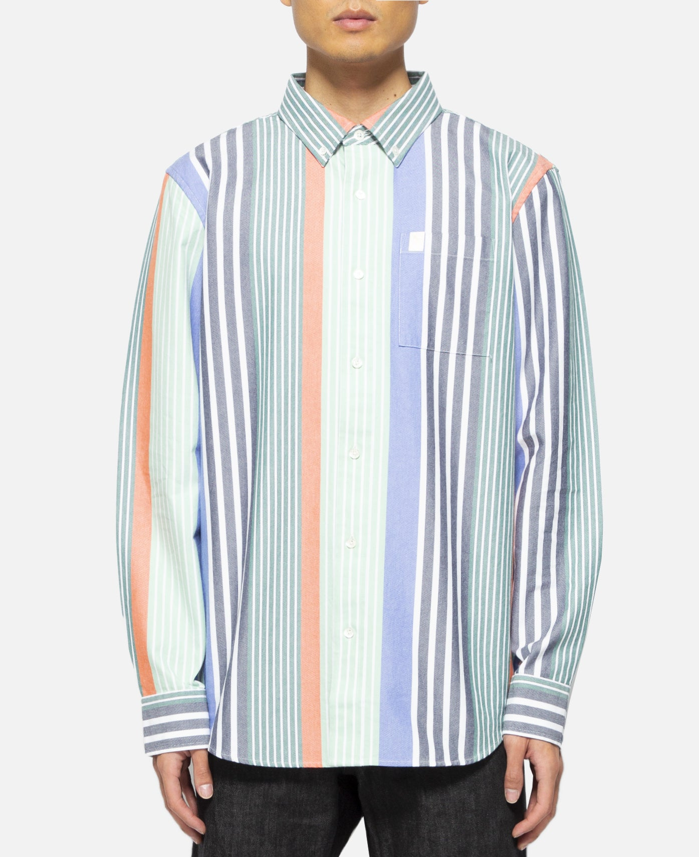 Thin Stripe Oxford Shirt (Green)