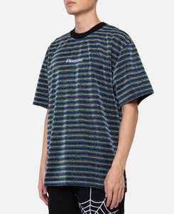 Disturbed Glitter Stripe Shirt (Navy)