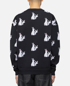 Rabbits Pattern Knit Top (Black)