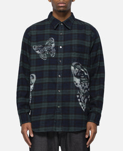 Butterfly Flannel Plaid Shirt (Green)