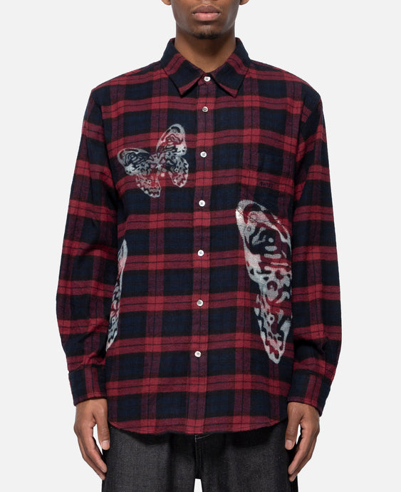 Butterfly Flannel Plaid Shirt (Red)