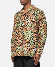 Leopard Flannel Open Collar Shirt Type-1 (Green)