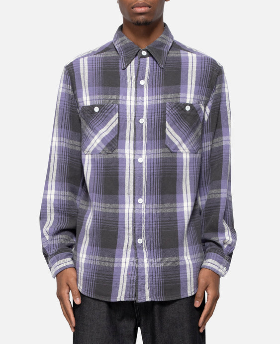 Flannel Check Regular Collar Shirt (Purple)