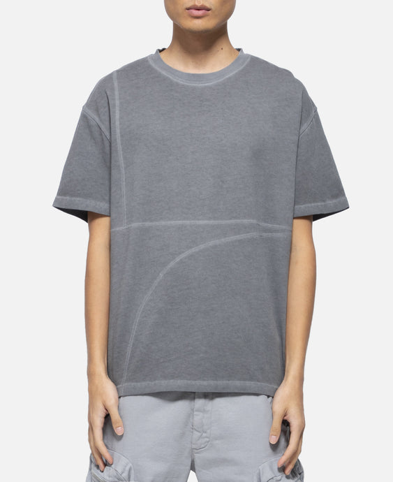 Overlock T-Shirt With Mesh Logo (Grey)