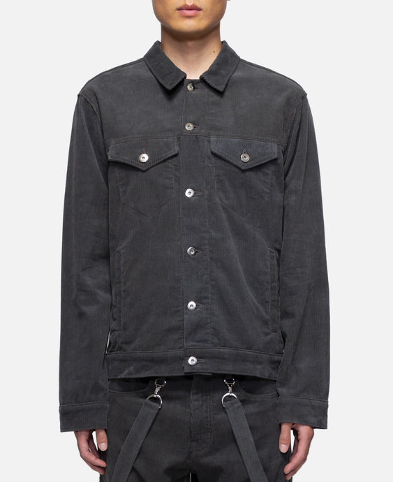 Corduroy Perforated Trucker Jacket W/Cross (Grey)