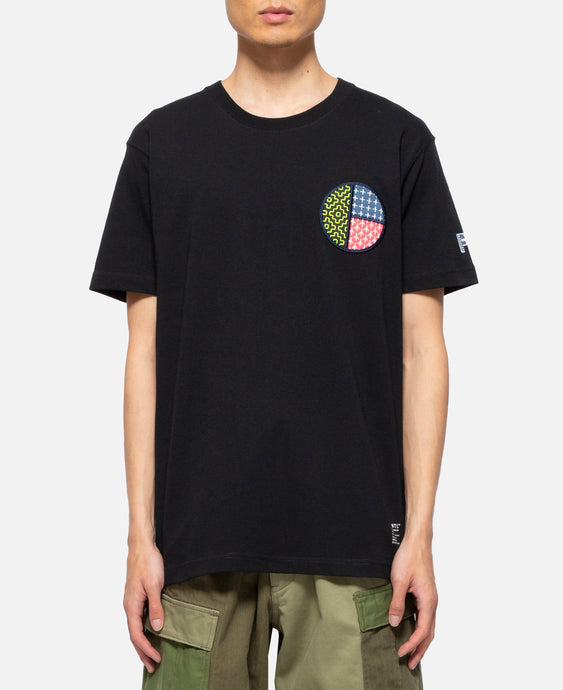 Circle Sashiko T-Shirt (Black)