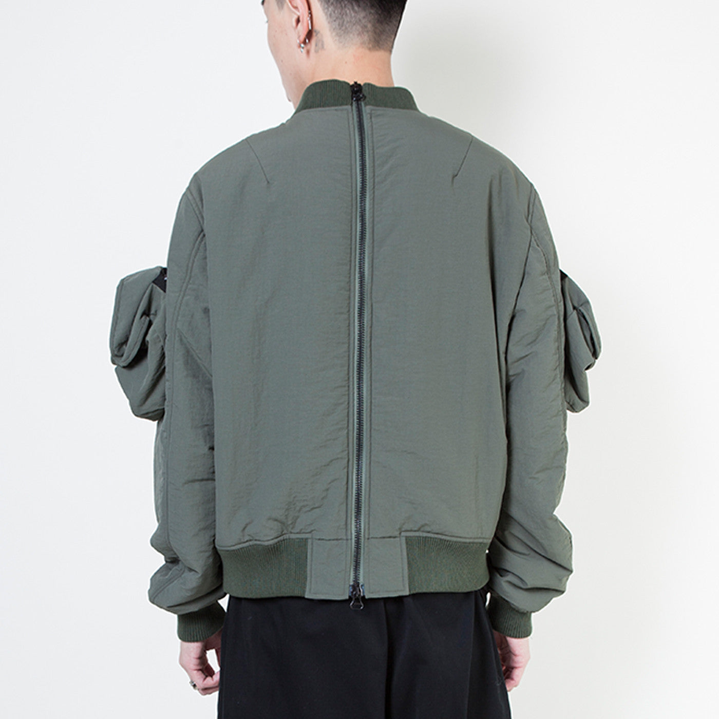 DOUBLE ZIP MA-1 BOMBER W/ DETACHABLE POCKETS
