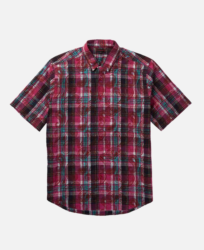 OVERLAPPED PATTERN CHECKER SHIRT (RED)