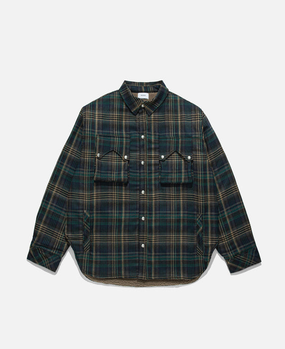 Plaid Sherpa Snap Jacket (Navy)