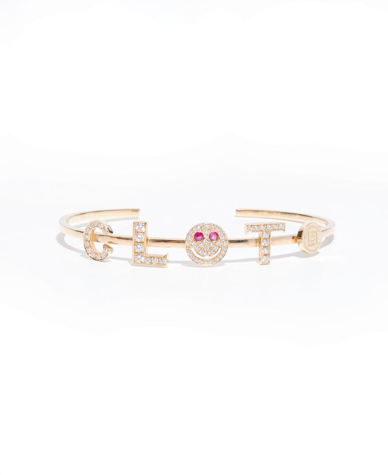 """CLOT"" Diamond Smiley Gold Bangle (1 of 10 - Pre-order)"