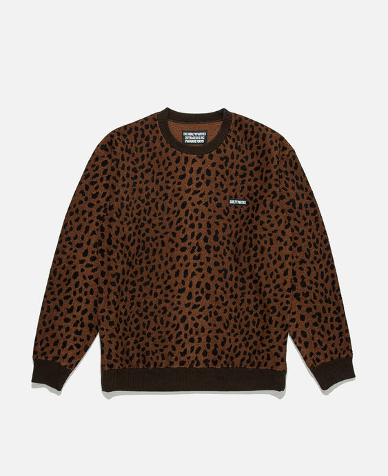 Leopard Fleece Crewneck Sweatshirt (Brown)