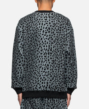 Leopard Fleece Crewneck Sweatshirt (Grey)