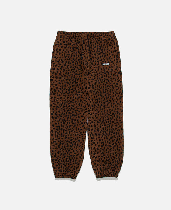 Leopard Fleece Sweatpants (Brown)