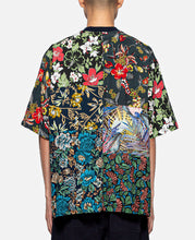 Flower Printed Patchwork T-Shirt (Navy)