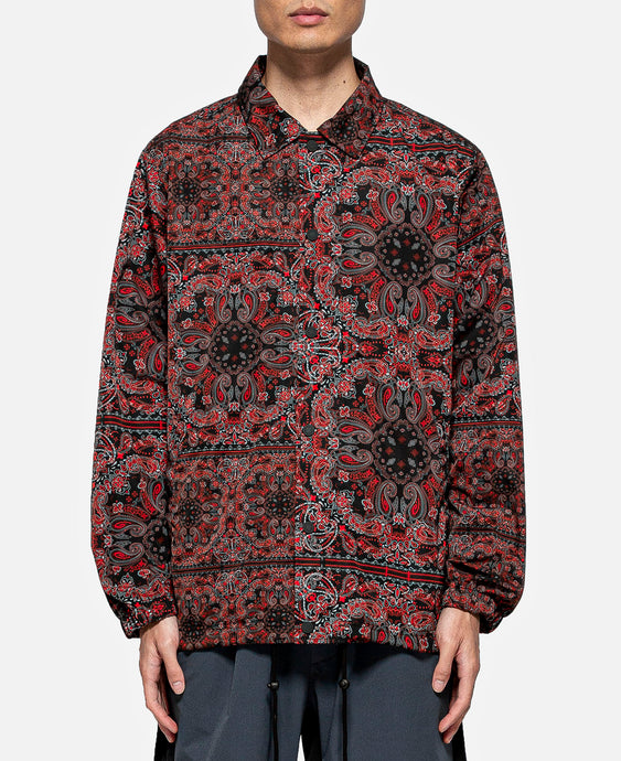 Bandana Printed Coach Jacket (Red)