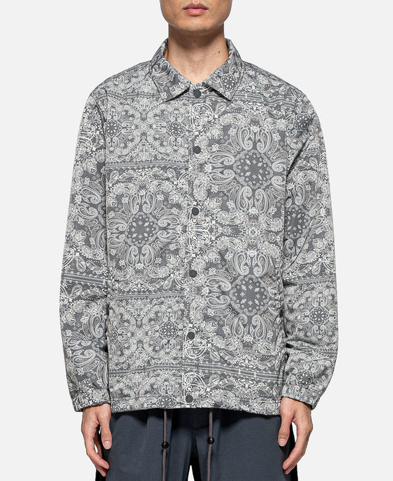Bandana Printed Coach Jacket (Grey)