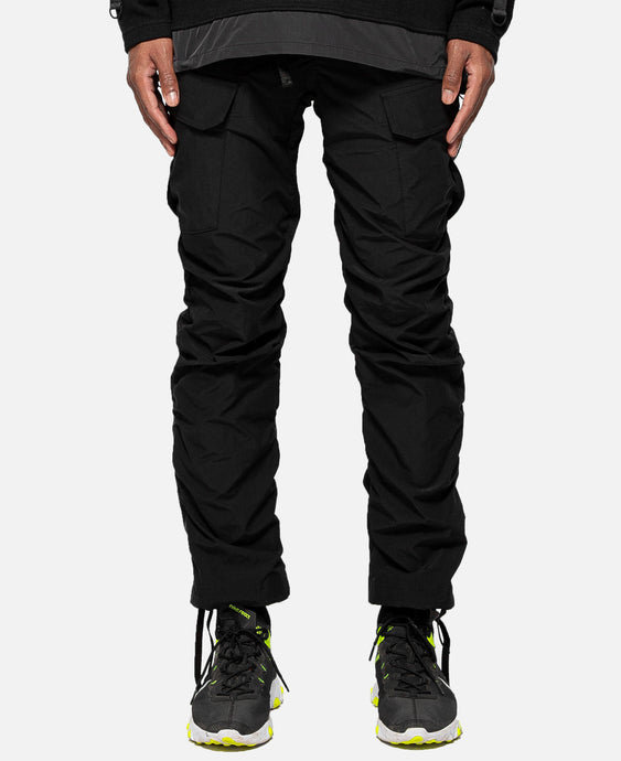 Stretched Shirring Cargo Pants (Black)