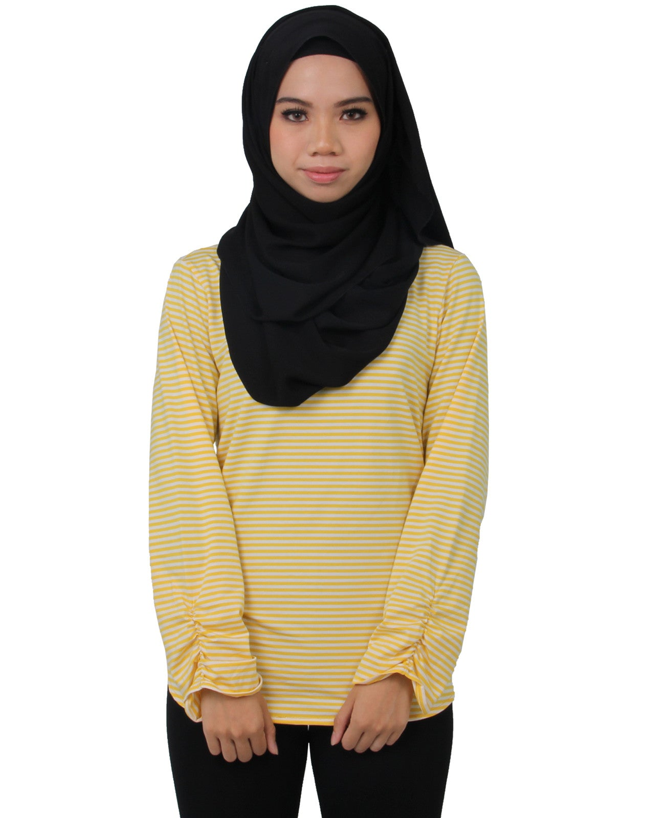 Yellow Stripes Gathered Sleeves Top