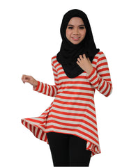 Orange Striped Hi - Lo Top