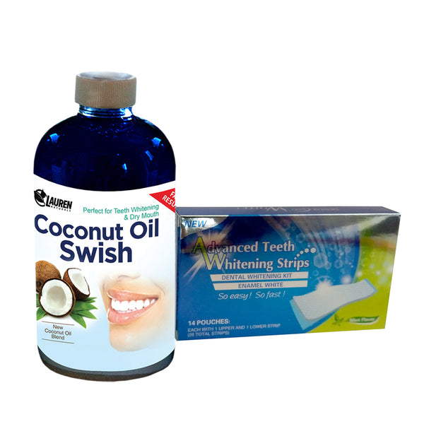Coconut Oil Swish 8 oz & Teeth Whitening Strips
