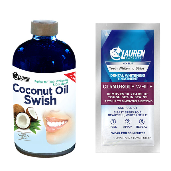Coconut Oil Swish with FREE Teeth Whitening Strips