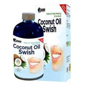 Oil Pulling and Mouthwash: Great Dry Mouth remedy, & Oral Detox - Helps Resolve Bad Breath and Whitens Teeth:  Risk-Free Guarantee From Lauren Naturals Coconut Oil Swish