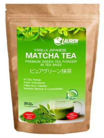 Vanilla Flavored Matcha Powder TEA BAGS