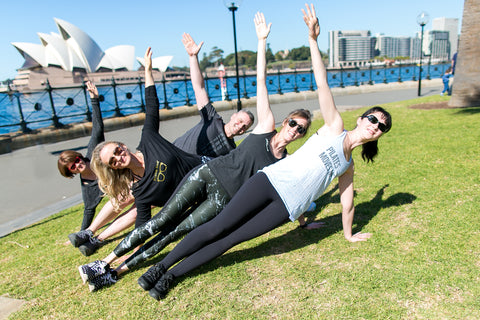 Pilates instructors practicing and wearing Pilates Nerd active wear in Sydney Australia