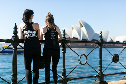 Pilates enthusiasts wearing Pilates Nerd Down Under active wear in Sydney Australia