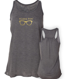Grey Pilates Nerd Tank with Gold Logo on the Front