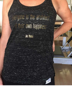 Pilates Nerd Down Under Happiness Tank with Gold Quote