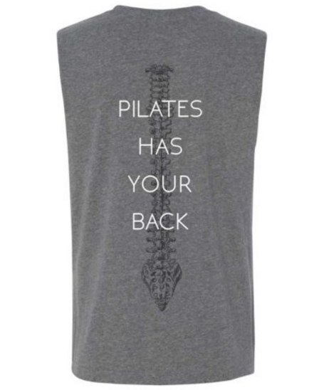 Men's Pilates Has Your Back Quote Muscle Tee Grey