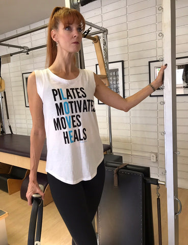 Pilates moves me cap sleeve tank White