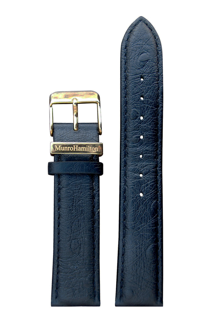 "Black ""Ostrich print"" Leather Strap - Gold Buckle"