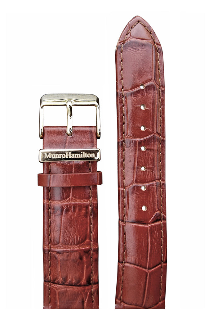 "Brown ""faux Croc"" Leather Strap - Gold Buckle"