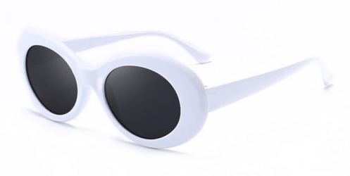 Thick White Oval Sunglasses