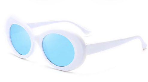 Thick White/Blue Oval Sunglasses