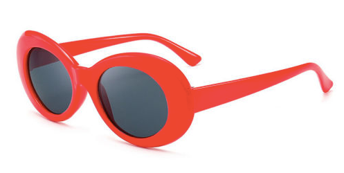 Thick Red Oval Sunglasses