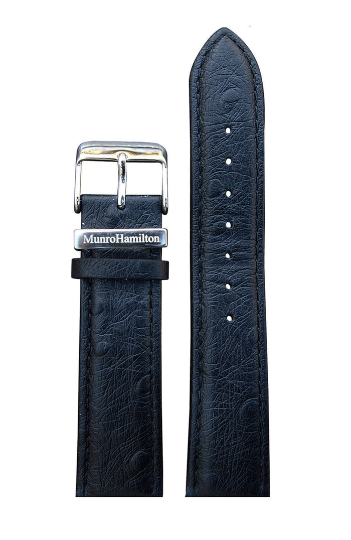 "Black ""Ostrich print"" Leather Strap - Silver Buckle"