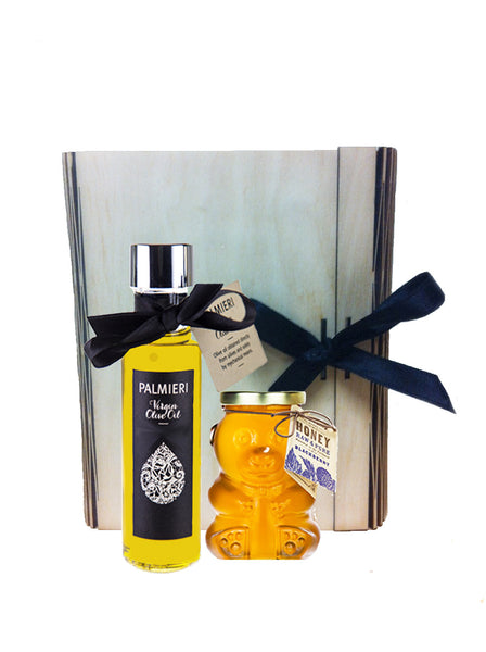 Virgin olive oil & honey in wooden box