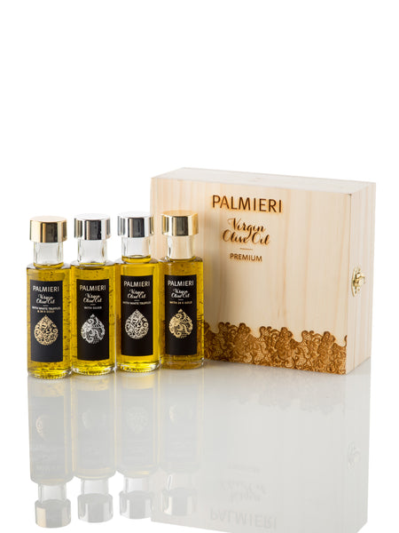 Set of 4 Virgin olive oil - 24K gold & 24K gold and white truffle & silver & white truffle