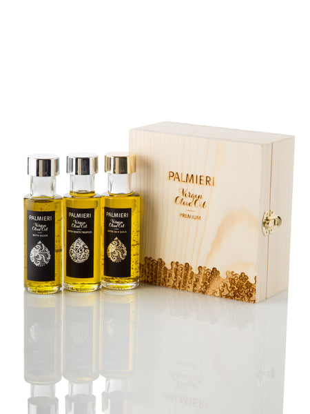 Set of 3 Virgin olive oil - white truffle & 24K gold and white truffle & silver